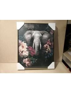 TOILE 40X50 ELEPHANT FLEURS